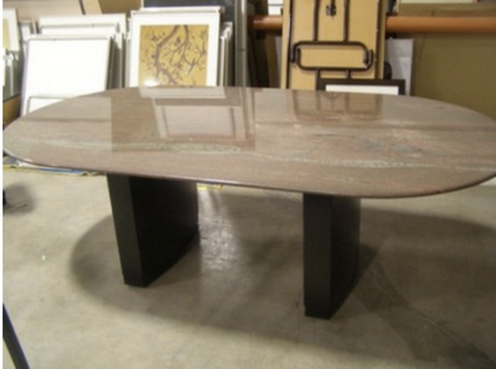 Granite Racetrack Conference Table  Pre Owned
