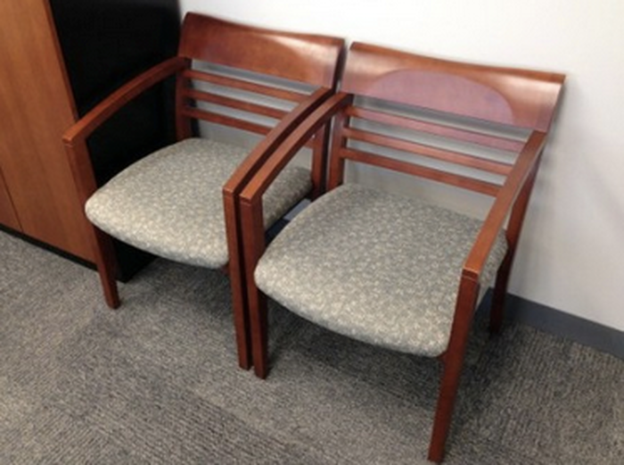 Cherry Wood Guest Chairs With Fabric Seat